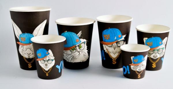 Одноразовые бумажные стаканчики для кофе с крышкой
